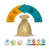 Business growth and money savings statistics. Business growth and money savings infographics design, vector illustration Stock Photo