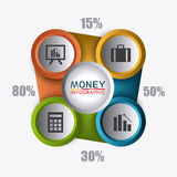 Business growth and money savings statistics. Business growth and money savings infographics design, vector illustration Royalty Free Stock Photos