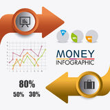 Business growth and money savings statistics. Business growth and money savings infographics design, vector illustration Stock Image