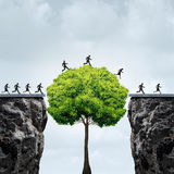 Business Growth Opportunity. Concept as a group of business people taking advantage of a tall tree grown in time to create a bridge to cross over and link two Royalty Free Stock Photo