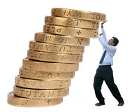 Business growth - pushing coins up Royalty Free Stock Photo