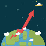 Business Growth. Red Arrow go out of the World to the space Royalty Free Stock Photography