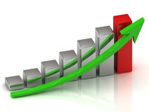 Business growth of silver and red bars Royalty Free Stock Photo