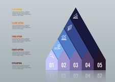Business growth 5 step infographics option. Template for presentation and workflow layout. Abstract background. Business growth 5 step option. Template for Stock Images