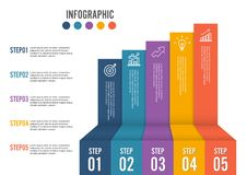 Business growth 5 step infographics option. Template for presentation and workflow layout. Abstract background. Business growth 5 step option. Template for Royalty Free Stock Image