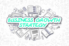 Business Growth Strategy - Business Concept. Green Inscription - Business Growth Strategy. Business Concept with Doodle Icons. Business Growth Strategy - Hand Royalty Free Stock Photo