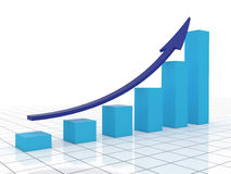 Business growth and success. Blue graph with arrow success in business Royalty Free Stock Photo