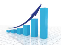 Business growth and success. Blue graph with arrow success in business Royalty Free Stock Photography