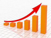 Business growth and success. Blue graph with arrow success in business Stock Image