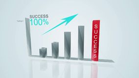 Business growth and success arrow infographics chart with success text on the red bar/ animation of a business success concept.