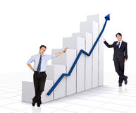 Business growth and success chart with business men Stock Images