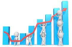 Business Growth and Success. Dude 3D characters X7 business people pushing up red Graph. Blue Bars Stock Photos
