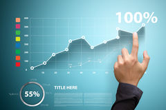 Business Growth Touch the analyzing financial charts Royalty Free Stock Photos