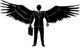 Business Guardian Angel. In a suit and tie. Icon for the honest work place devoted to helping and guarding people Stock Photo