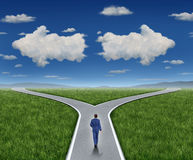 Business Guidance Questions. And career path as a business person walking to a crossroad highway with two clouds shaped as arrows pointing in opposite royalty free illustration