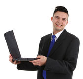 Business guy with a laptop Royalty Free Stock Photo