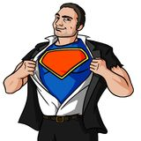 Business Guy in a Super Pose. A digital illustration of a business man guy ripping his shirt revealing a blank superhero costume and logo royalty free illustration