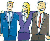 Business guys in office. Cartoon illustration of happy business guys in office Stock Photo