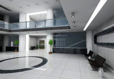 Business hall. Modern business hall design interior (3D rendering