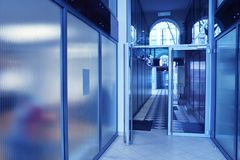 Business hall blue royalty free stock photos