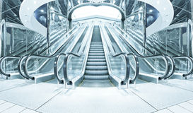 Business hall with blue vanishing escalators Stock Images