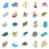 Business hall icons set, isometric style. Business hall icons set. Isometric set of 25 business hall vector icons for web isolated on white background Royalty Free Stock Photos