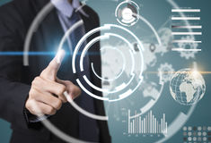 Business hand with application icons interface and globe network Royalty Free Stock Images