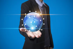 Business hand with application icons interface and globe network Royalty Free Stock Photography