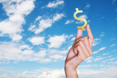 Business hand with blue sky Royalty Free Stock Photo