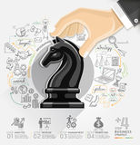 Business hand with chess infographics option. Stock Photography