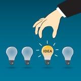 Business hand choose idea light bulb Stock Photos