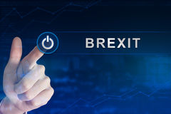 Business hand clicking brexit or british exit button stock illustration
