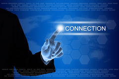 Business hand clicking connection button on touch screen Royalty Free Stock Photography