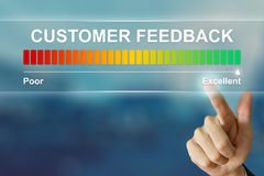 Business hand clicking excellent customer feedback on virtual sc Royalty Free Stock Photography