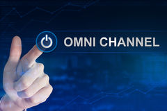 Business hand clicking omni channel button Royalty Free Stock Image