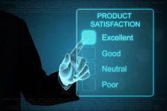 Business hand clicking product satisfaction on touch screen Royalty Free Stock Image