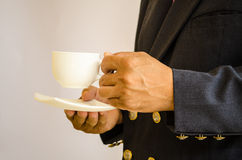 Business hand  for coffee Royalty Free Stock Photography