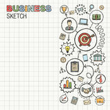 Business hand draw icons on paper. Colorful vector infographic sketch on paper sheet. Connected doodle pictograms set: strategy, mission, service, analytics Stock Photo