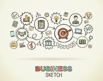Business hand draw integrated icons. Colorful vector sketch concept infographic illustration in editable EPS and JPG format Royalty Free Stock Images
