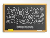 Business hand draw integrated icons set on school blackboard Royalty Free Stock Images