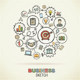 Business hand draw sketch icons. Business hand drawing integrated sketch icons. Vector doodle marketing pictogram set. Connected concept illustration on paper Stock Photos