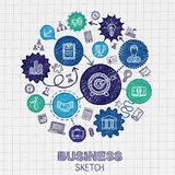 Business hand drawing integrated sketch icons Royalty Free Stock Photography