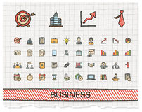 Business hand drawing line icons. Stock Image