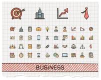 Business hand drawing line icons. Vector doodle pictogram set: color pen sketch sign illustration on paper with hatch symbol: finance, money, presentation Stock Image