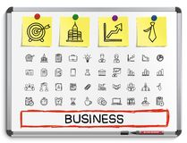 Business hand drawing line icons. Stock Photos