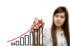 Business hand drawing showing graph. Young woman business hand drawing showing graph Royalty Free Stock Images