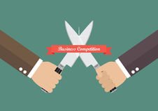 Business hand fighting with knives. Business competition concept Stock Photography