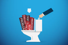Business hand flushing the problem word going down the toilet, solution concept. Vector and illustration Stock Image