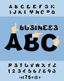 Business Hand font. Pointing finger alphabet.  Royalty Free Stock Images
