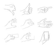 Business hand gestures contour Royalty Free Stock Image